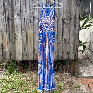 Petite Length Orange & Blue Maxi